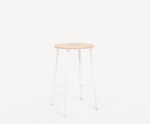 Frama - Adam Stool R031   Natural Leather / White